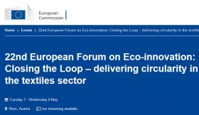 22nd European Forum on Eco-innovation: Closing the Loop – delivering circularity in the textiles sector.