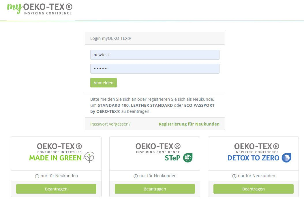 OEKO-TEX customer login